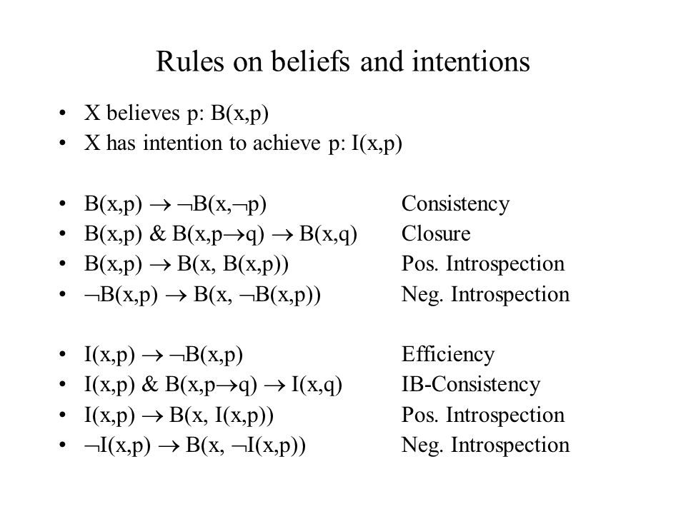 Rules on beliefs and intentions X believes p: B(x,p) X has intention to achieve p: I(x,p) B(x,p)   B(x,  p) Consistency B(x,p) & B(x,p  q)  B(x,q