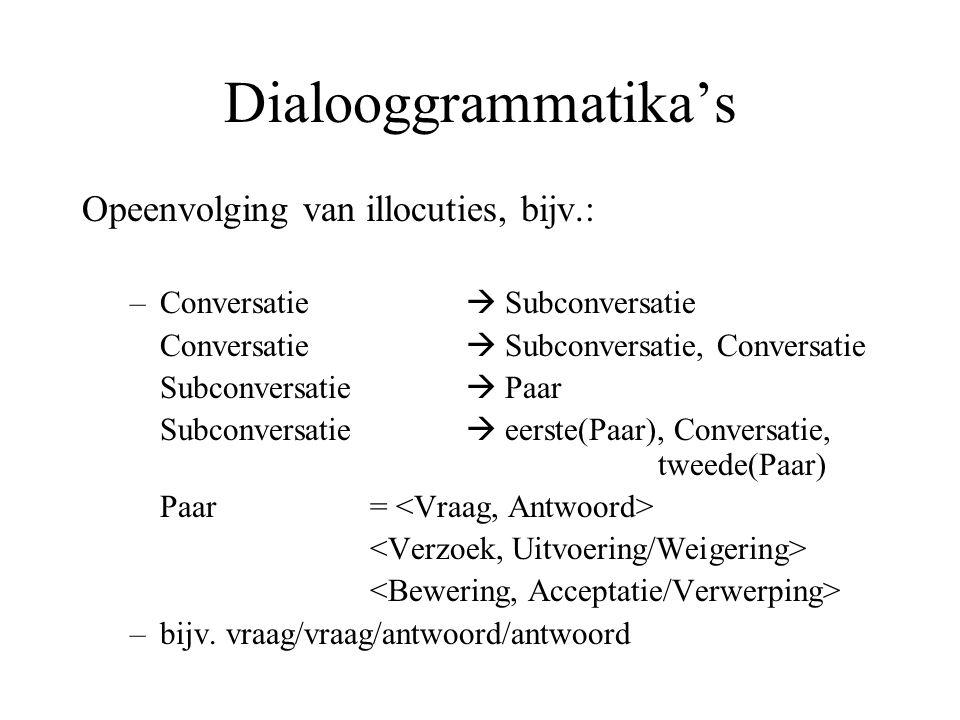 Dialooggrammatika's Opeenvolging van illocuties, bijv.: –Conversatie  Subconversatie Conversatie  Subconversatie, Conversatie Subconversatie  Paar Subconversatie  eerste(Paar), Conversatie, tweede(Paar) Paar = –bijv.
