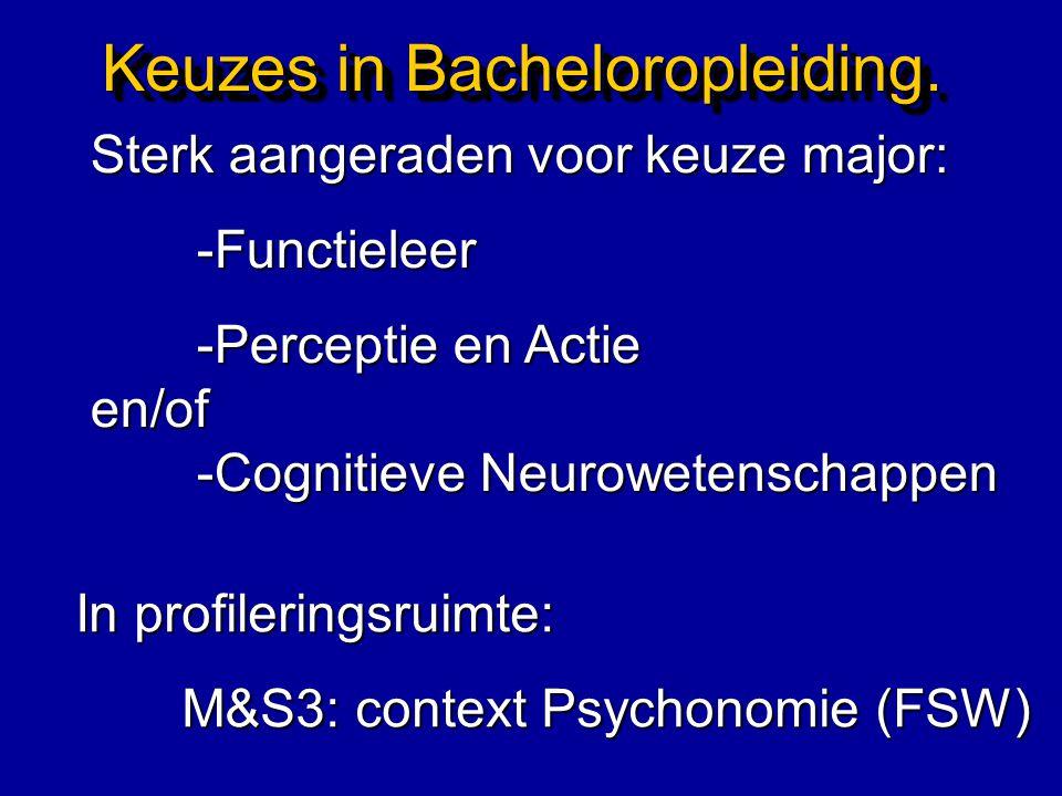Keuzes in Bacheloropleiding. Sterk aangeraden voor keuze major: -Functieleer -Perceptie en Actie en/of -Cognitieve Neurowetenschappen In profileringsr