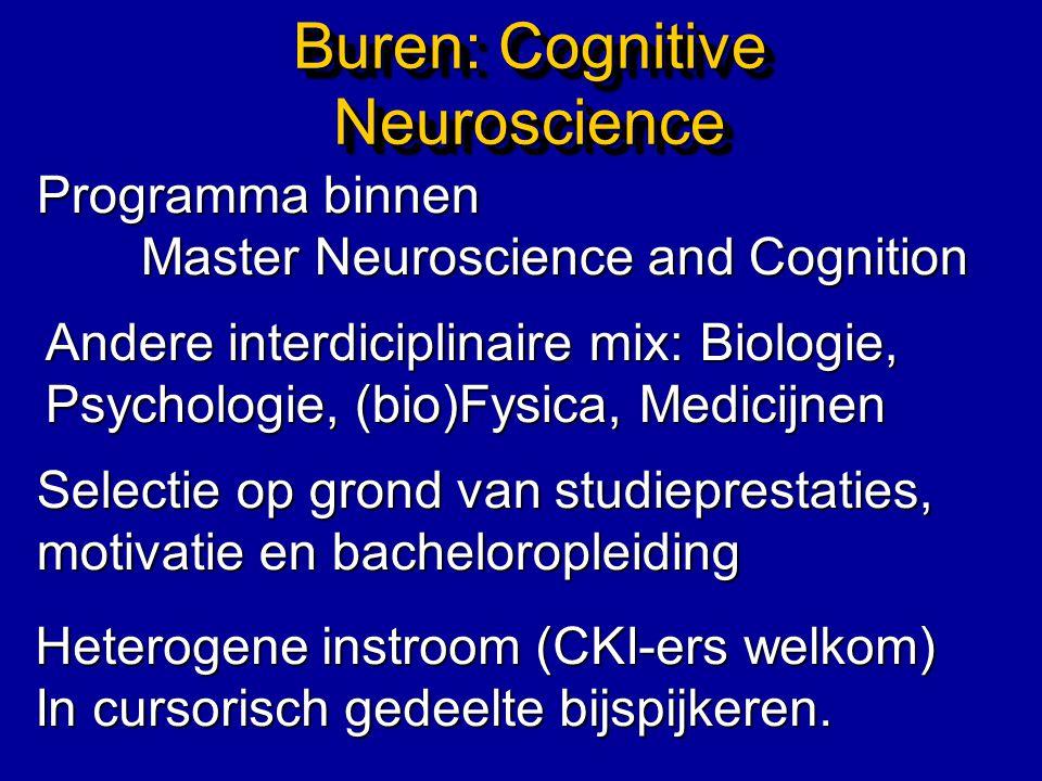 Buren: Cognitive Neuroscience Programma binnen Master Neuroscience and Cognition Andere interdiciplinaire mix: Biologie, Psychologie, (bio)Fysica, Med