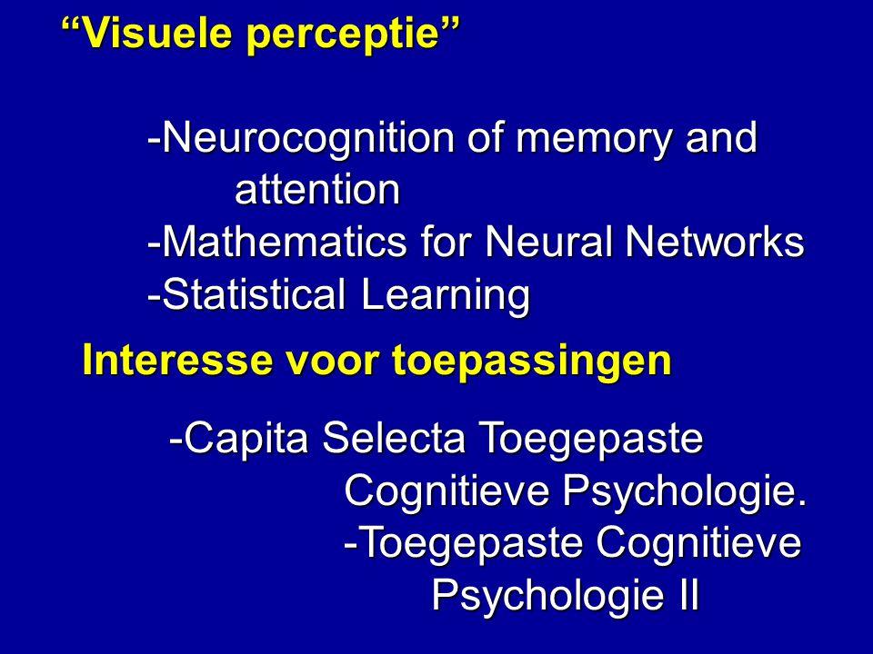 Biologische Informatieverwerking -Evolutionary Computation -Mathematics for Neural Networks -Statistical Learning -Machine learning -Philosophy of Action of extra vak Biologie N.B.
