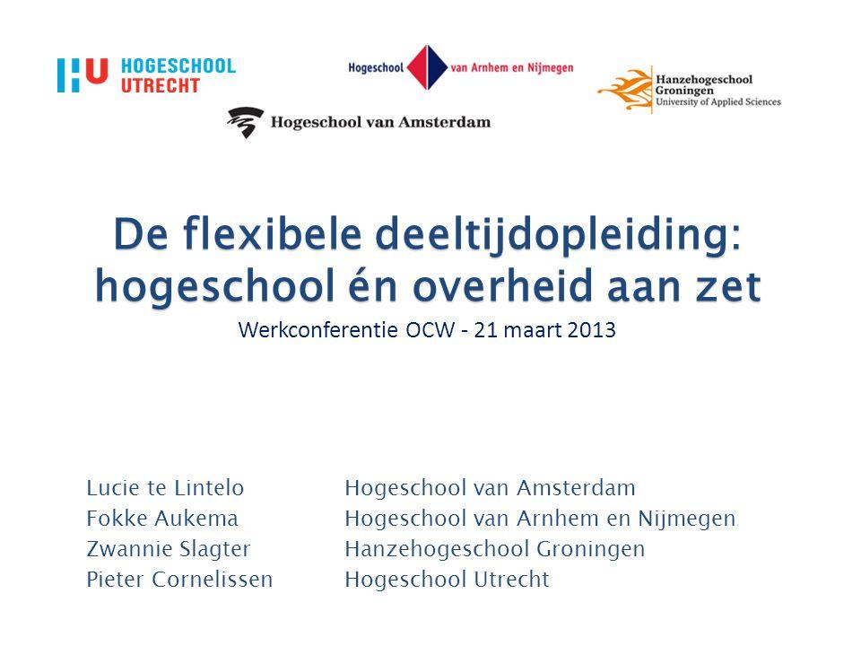 De flexibele deeltijdopleiding: hogeschool én overheid aan zet Werkconferentie OCW - 21 maart 2013 Lucie te LinteloHogeschool van Amsterdam Fokke Auke