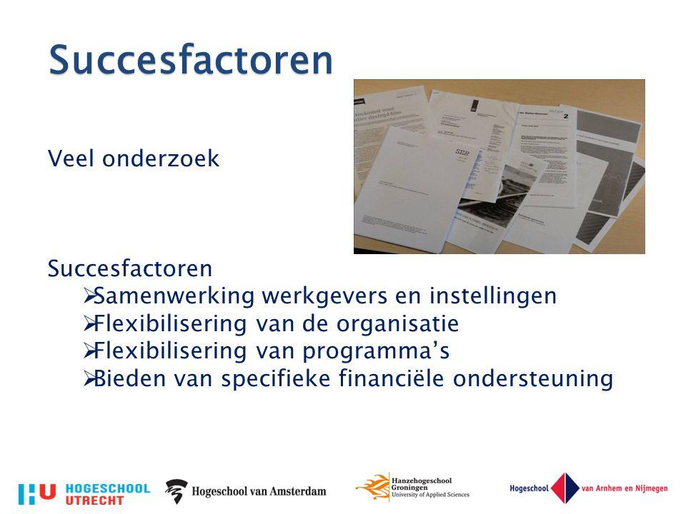 Succesfactoren Veel onderzoek Succesfactoren  Samenwerking werkgevers en instellingen  Flexibilisering van de organisatie  Flexibilisering van prog