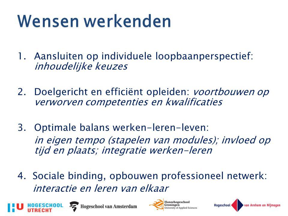 Wensen werkenden 1.Aansluiten op individuele loopbaanperspectief: inhoudelijke keuzes 2.Doelgericht en efficiënt opleiden: voortbouwen op verworven co