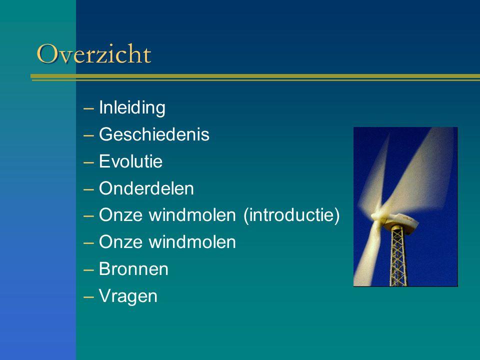 Overzicht –Inleiding –Geschiedenis –Evolutie –Onderdelen –Onze windmolen (introductie) –Onze windmolen –Bronnen –Vragen