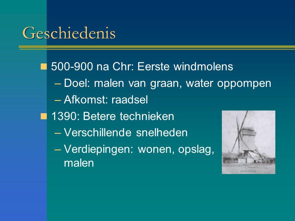 Geschiedenis 500-900 na Chr: Eerste windmolens –Doel: malen van graan, water oppompen –Afkomst: raadsel 1390: Betere technieken –Verschillende snelhed