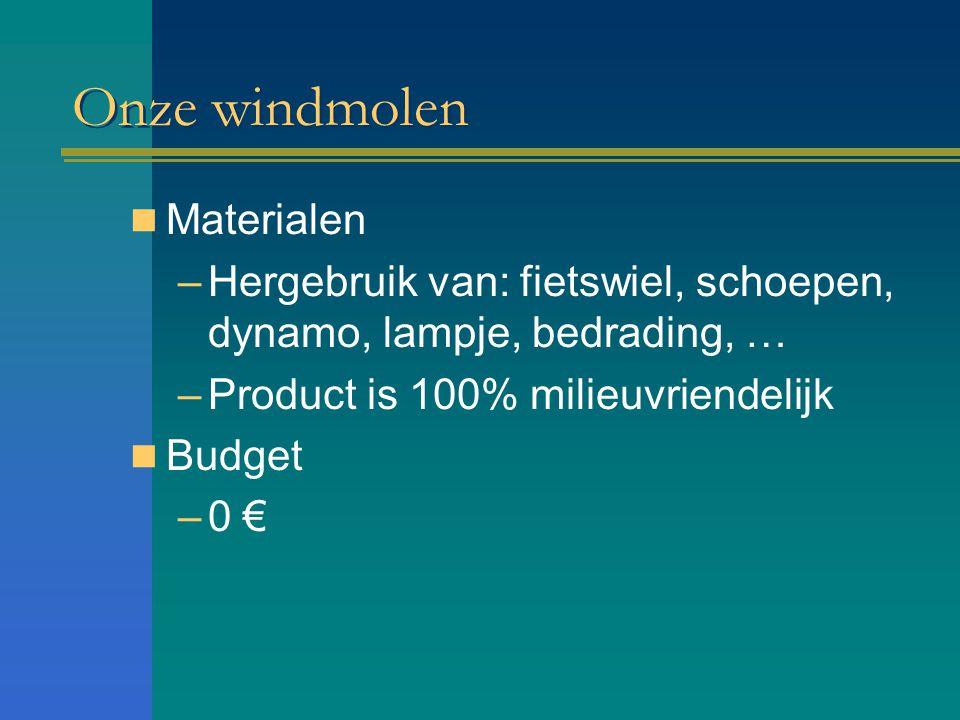 Onze windmolen Materialen –Hergebruik van: fietswiel, schoepen, dynamo, lampje, bedrading, … –Product is 100% milieuvriendelijk Budget –0 €