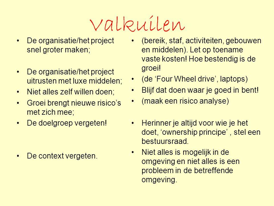 Valkuilen De organisatie/het project snel groter maken; De organisatie/het project uitrusten met luxe middelen; Niet alles zelf willen doen; Groei bre