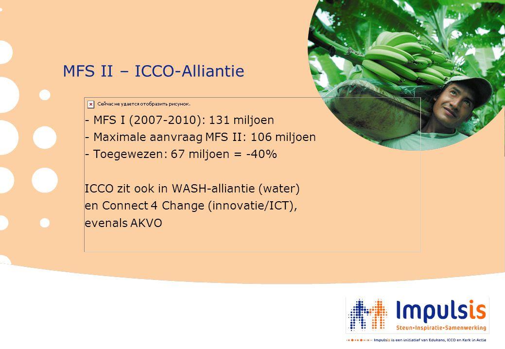 MFS II – ICCO-Alliantie - MFS I (2007-2010): 131 miljoen - Maximale aanvraag MFS II: 106 miljoen - Toegewezen: 67 miljoen = -40% ICCO zit ook in WASH-