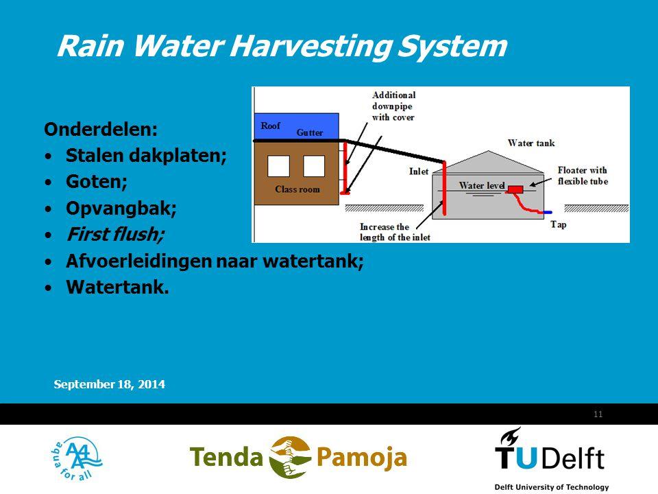 Vermelding onderdeel organisatie September 18, 2014 12 Goten/watertank