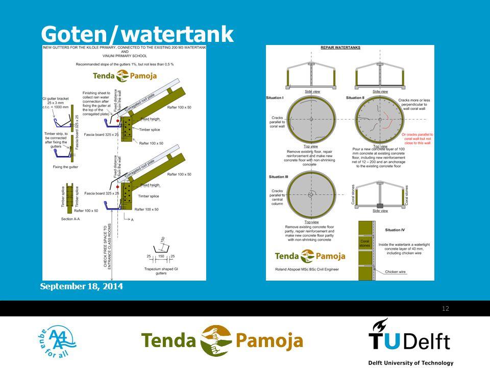 Vermelding onderdeel organisatie September 18, 2014 13 Watertank