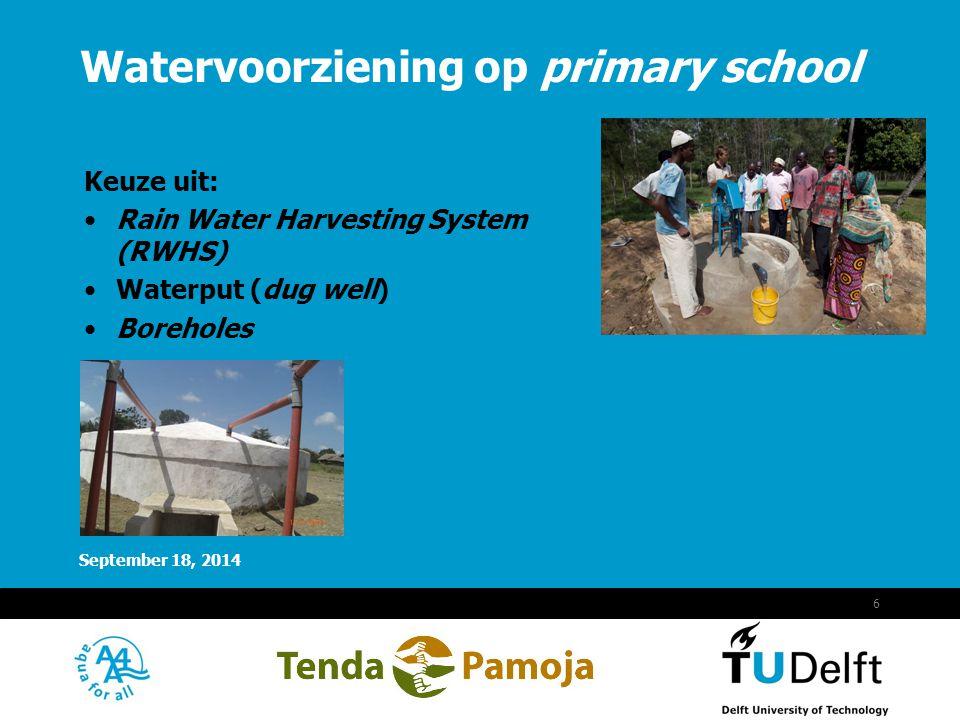 Vermelding onderdeel organisatie September 18, 2014 7 Voordelen: Op scholen grote dakoppervlaktes aanwezig; Relatief schoon water; Eenvoudige constructies met lokale materialen; Voldoende veilig drinkwater (2 liter/schooldag/kind).