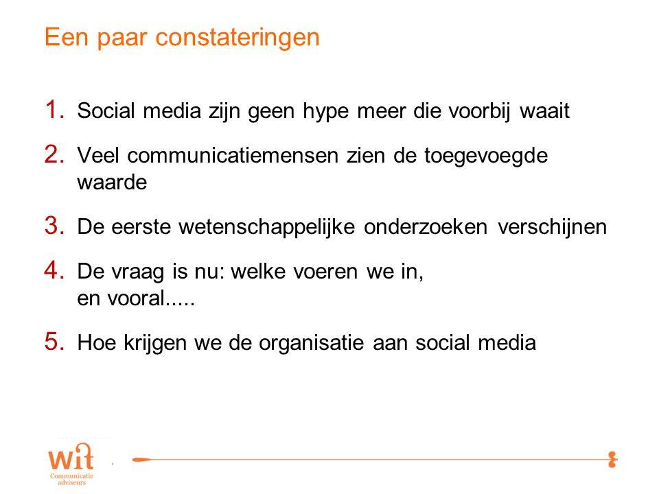 13 Een paar constateringen 1. Social media zijn geen hype meer die voorbij waait 2.