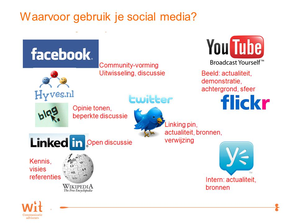 7 Waarvoor gebruik je social media?