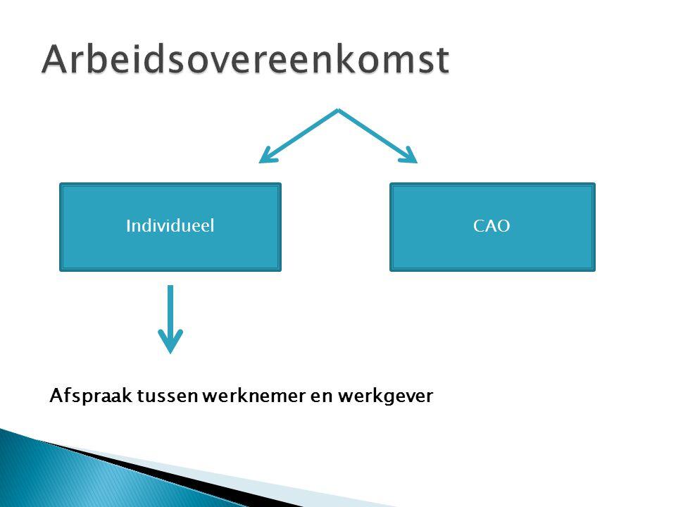 Afspraak tussen werknemer en werkgever IndividueelCAO