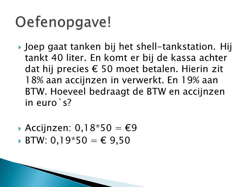  Joep gaat tanken bij het shell-tankstation. Hij tankt 40 liter. En komt er bij de kassa achter dat hij precies € 50 moet betalen. Hierin zit 18% aan