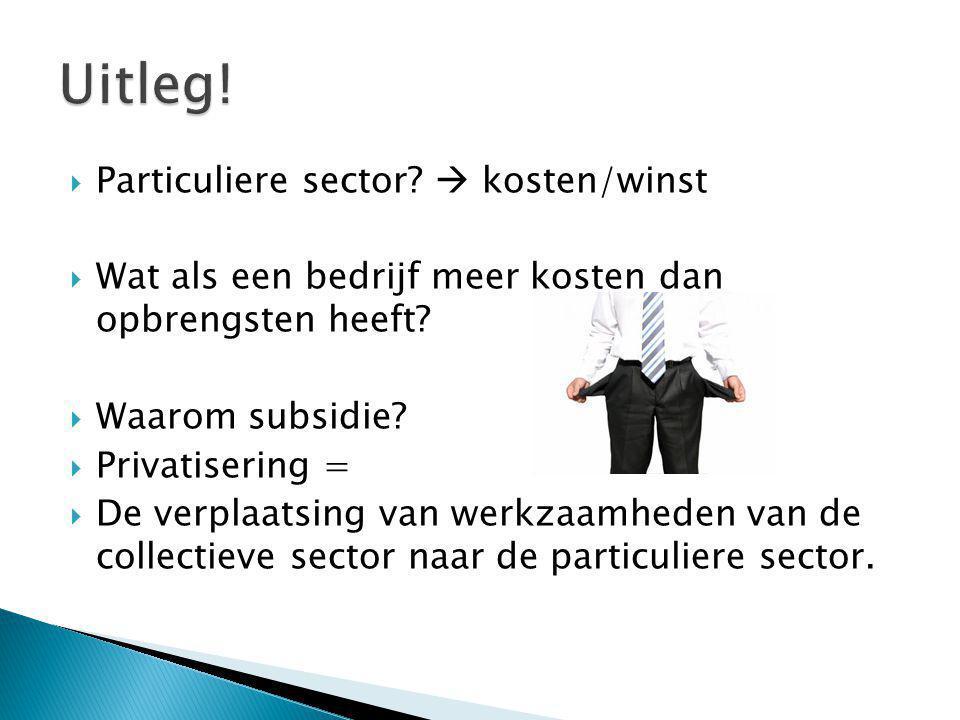  Particuliere sector. kosten/winst  Wat als een bedrijf meer kosten dan opbrengsten heeft.