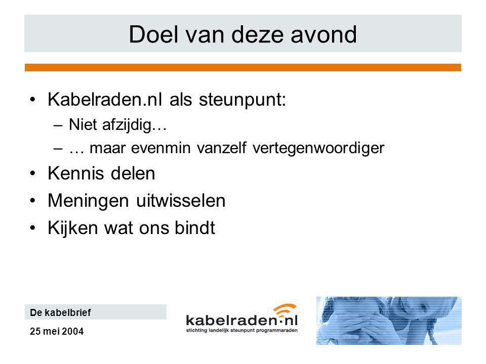 25 mei 2004 De kabelbrief Doel van deze avond Kabelraden.nl als steunpunt: –Niet afzijdig… –… maar evenmin vanzelf vertegenwoordiger Kennis delen Meningen uitwisselen Kijken wat ons bindt
