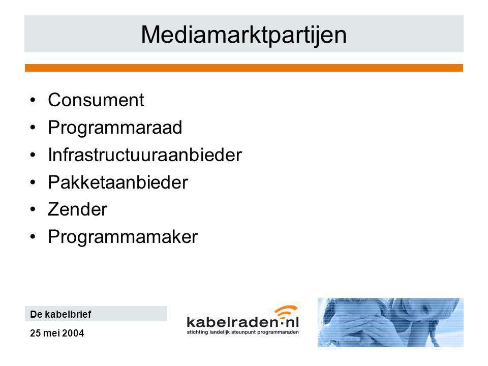 25 mei 2004 De kabelbrief Mediamarktpartijen Consument Programmaraad Infrastructuuraanbieder Pakketaanbieder Zender Programmamaker