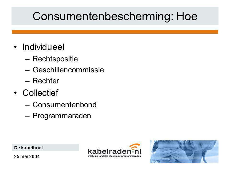25 mei 2004 De kabelbrief Consumentenbescherming: Hoe Individueel –Rechtspositie –Geschillencommissie –Rechter Collectief –Consumentenbond –Programmaraden