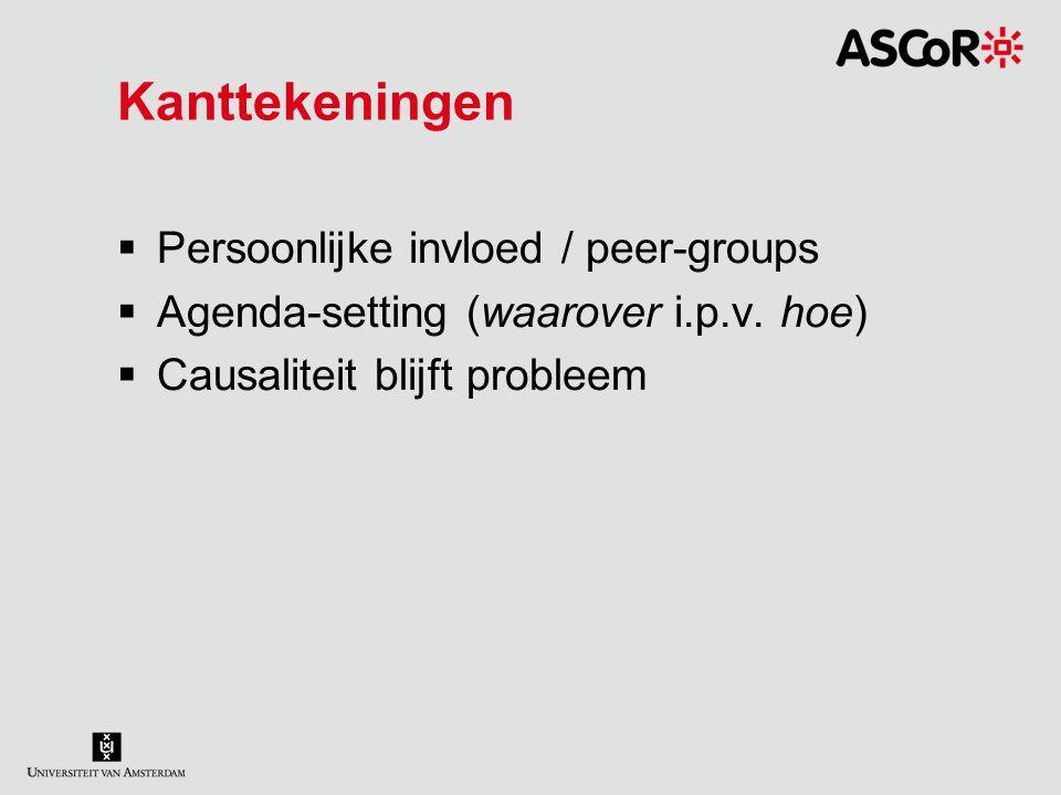 Kanttekeningen  Persoonlijke invloed / peer-groups  Agenda-setting (waarover i.p.v. hoe)  Causaliteit blijft probleem