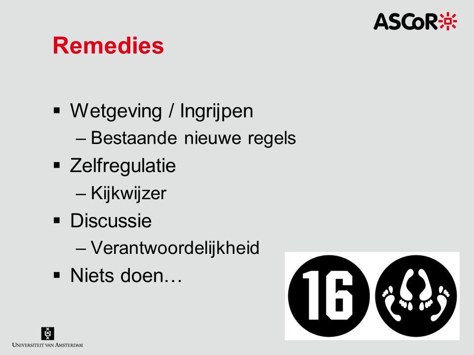 Remedies  Wetgeving / Ingrijpen –Bestaande nieuwe regels  Zelfregulatie –Kijkwijzer  Discussie –Verantwoordelijkheid  Niets doen…
