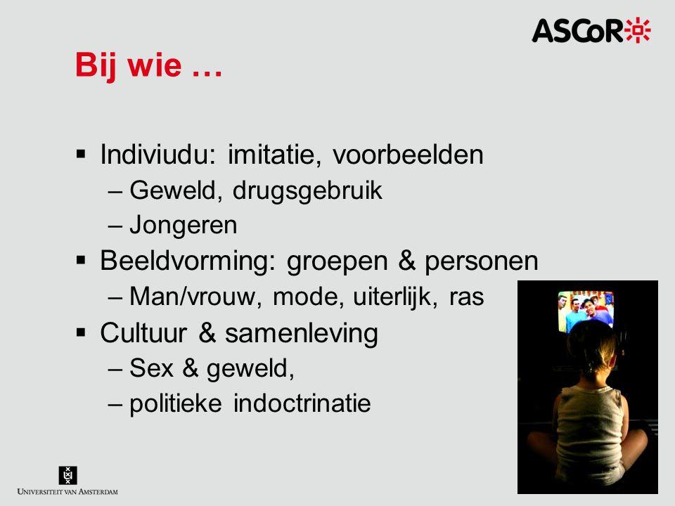 Bij wie …  Indiviudu: imitatie, voorbeelden –Geweld, drugsgebruik –Jongeren  Beeldvorming: groepen & personen –Man/vrouw, mode, uiterlijk, ras  Cul