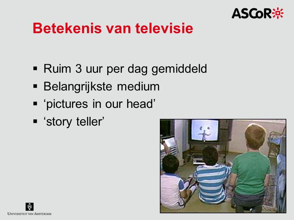 Betekenis van televisie  Ruim 3 uur per dag gemiddeld  Belangrijkste medium  'pictures in our head'  'story teller'