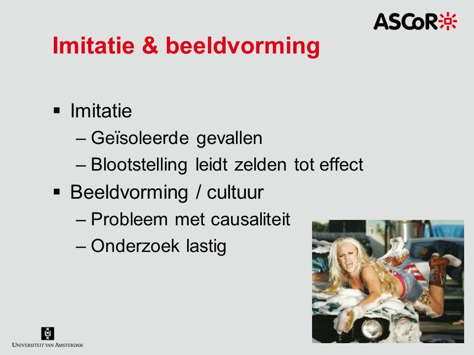 Imitatie & beeldvorming  Imitatie –Geïsoleerde gevallen –Blootstelling leidt zelden tot effect  Beeldvorming / cultuur –Probleem met causaliteit –On