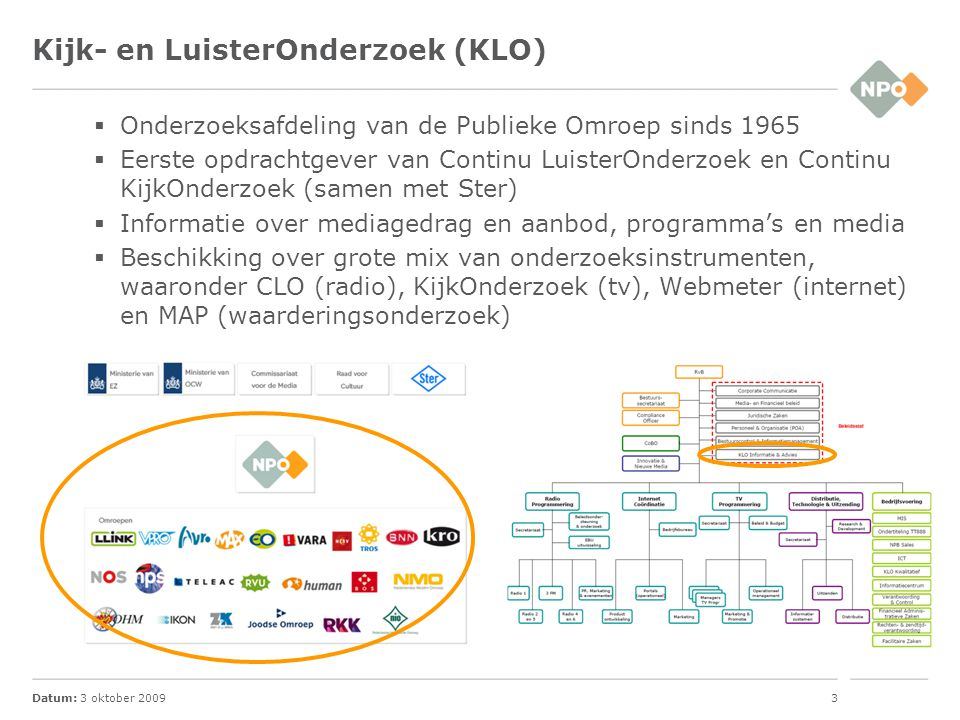 Datum: 3 oktober 20094 Stichting KijkOnderzoek (SKO)  Vanaf 1 januari 2002 verantwoordelijk voor de kijkcijfers in Nederland  Joint Industry Committee (JIC) -Publieke Omroep (NPO), SPOT, BVA en PMA  Missie -Het doen (laten) uitvoeren van betrouwbaar, valide, marktrelevant en innovatief kijkonderzoek  Onderzoeksbureaus -Intomart GfK (panel en meters), MediaXim (classificatie)  Panel -1.250 huishoudens, 2.700 respondenten  Methode -Peoplemeter voor panel en gasten -Dagelijks rapportage, inclusief uitgesteld kijken, inclusief programmagegevens