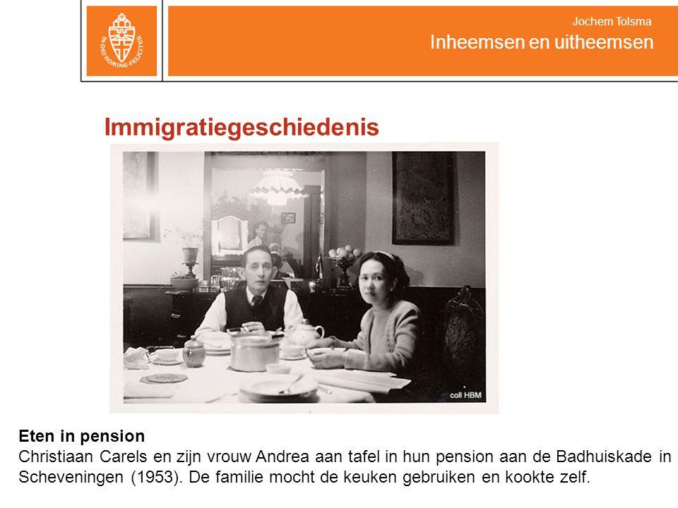 Immigratiegeschiedenis Inheemsen en uitheemsen Jochem Tolsma Eten in pension Christiaan Carels en zijn vrouw Andrea aan tafel in hun pension aan de Ba
