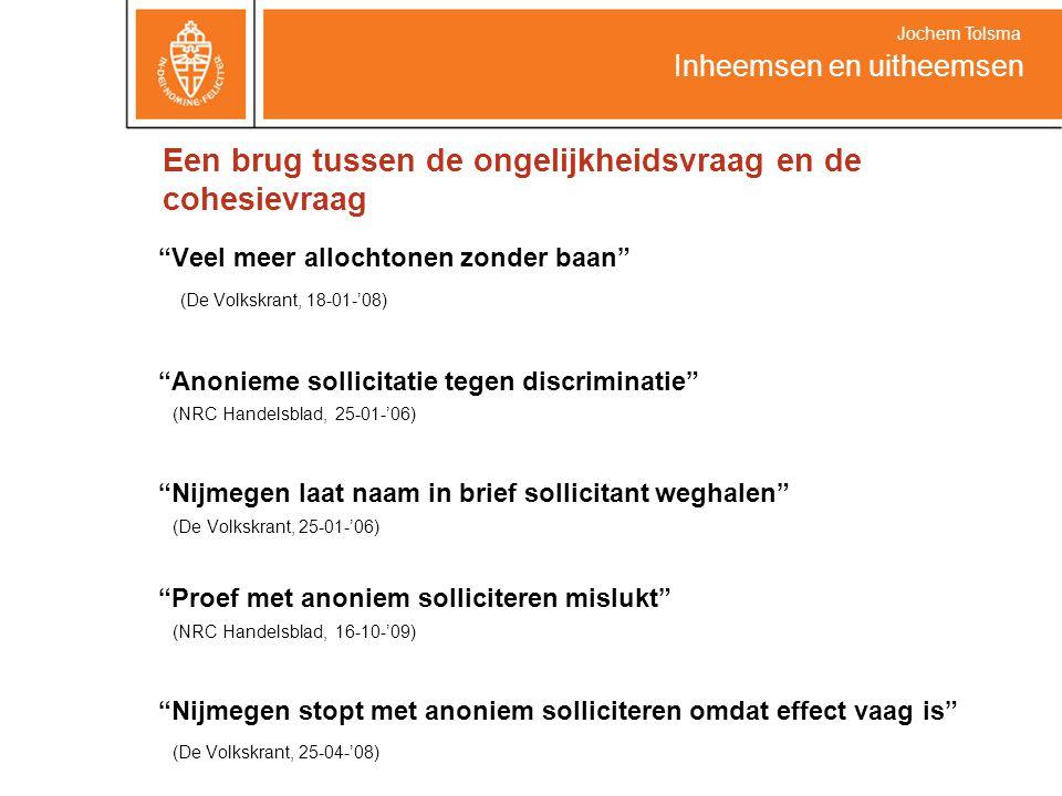 """""""Veel meer allochtonen zonder baan"""" (De Volkskrant, 18-01-'08) """"Anonieme sollicitatie tegen discriminatie"""" (NRC Handelsblad, 25-01-'06) """"Nijmegen laat"""