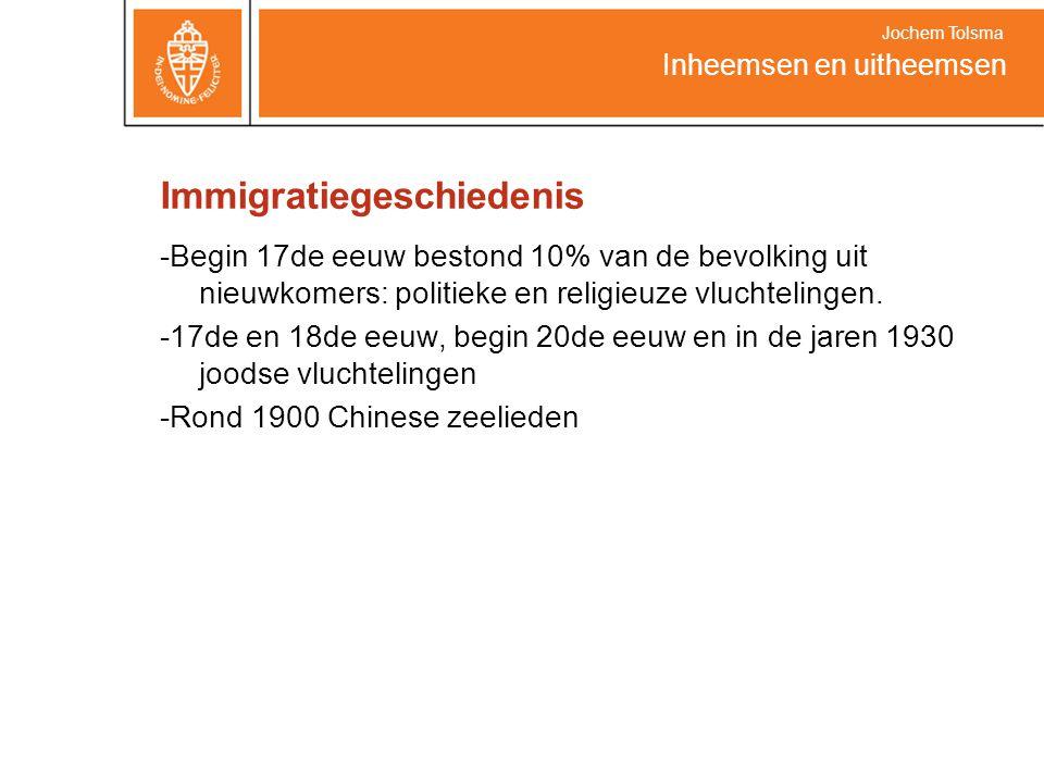 Immigratiegeschiedenis -Begin 17de eeuw bestond 10% van de bevolking uit nieuwkomers: politieke en religieuze vluchtelingen. -17de en 18de eeuw, begin