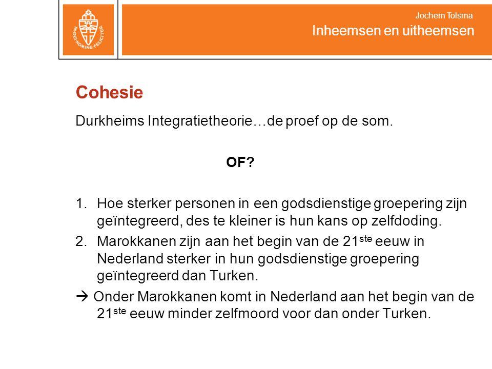 Cohesie Durkheims Integratietheorie…de proef op de som. OF? 1.Hoe sterker personen in een godsdienstige groepering zijn geïntegreerd, des te kleiner i