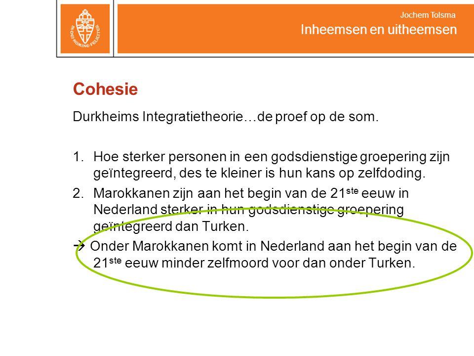 Cohesie Durkheims Integratietheorie…de proef op de som. 1.Hoe sterker personen in een godsdienstige groepering zijn geïntegreerd, des te kleiner is hu