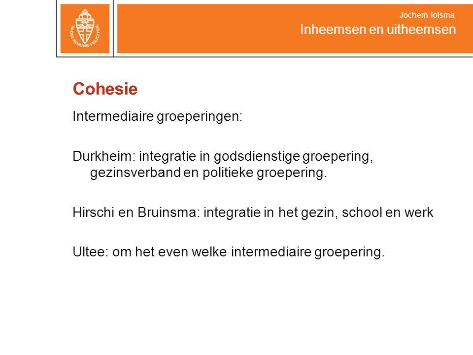 Cohesie Intermediaire groeperingen: Durkheim: integratie in godsdienstige groepering, gezinsverband en politieke groepering. Hirschi en Bruinsma: inte