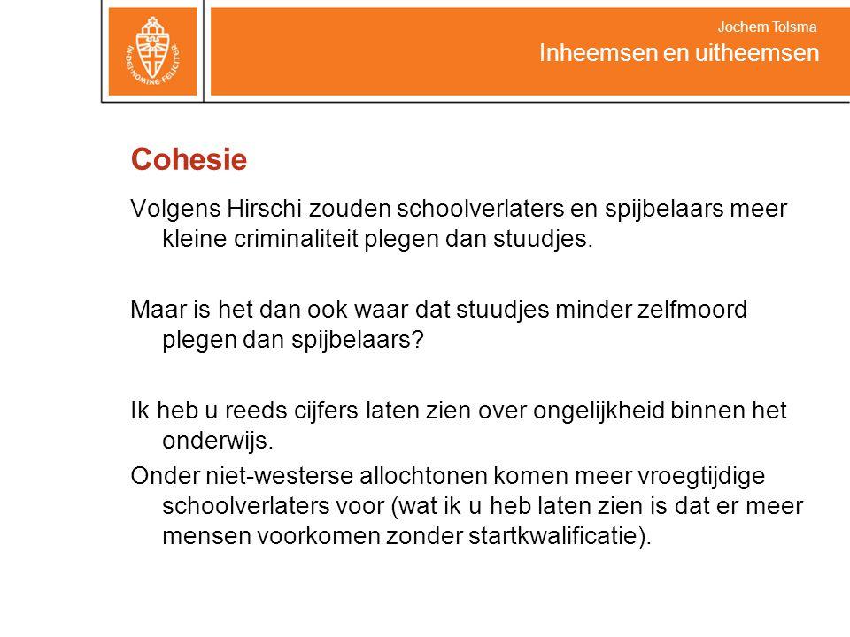 Cohesie Volgens Hirschi zouden schoolverlaters en spijbelaars meer kleine criminaliteit plegen dan stuudjes. Maar is het dan ook waar dat stuudjes min