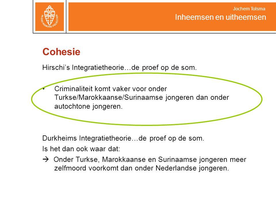 Cohesie Hirschi's Integratietheorie…de proef op de som. Criminaliteit komt vaker voor onder Turkse/Marokkaanse/Surinaamse jongeren dan onder autochton