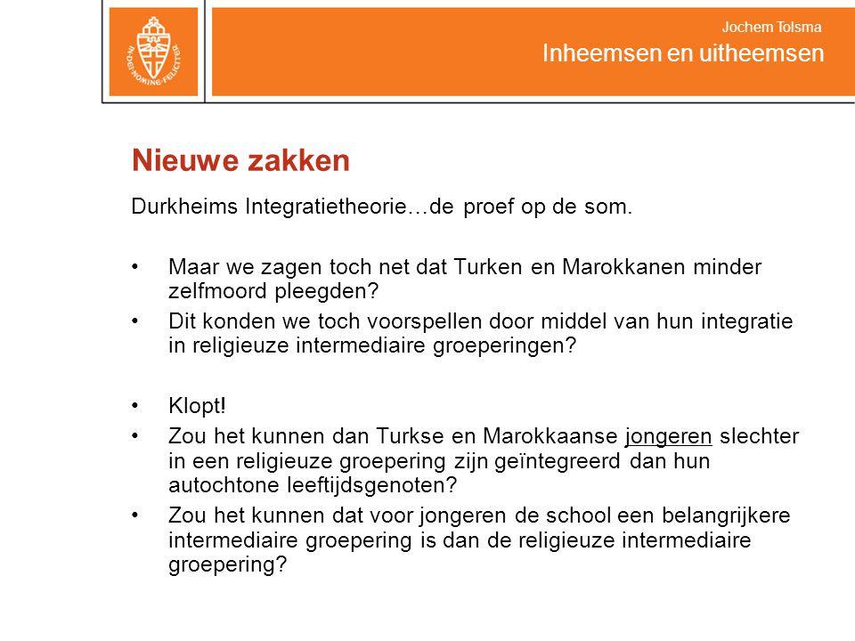 Nieuwe zakken Durkheims Integratietheorie…de proef op de som. Maar we zagen toch net dat Turken en Marokkanen minder zelfmoord pleegden? Dit konden we