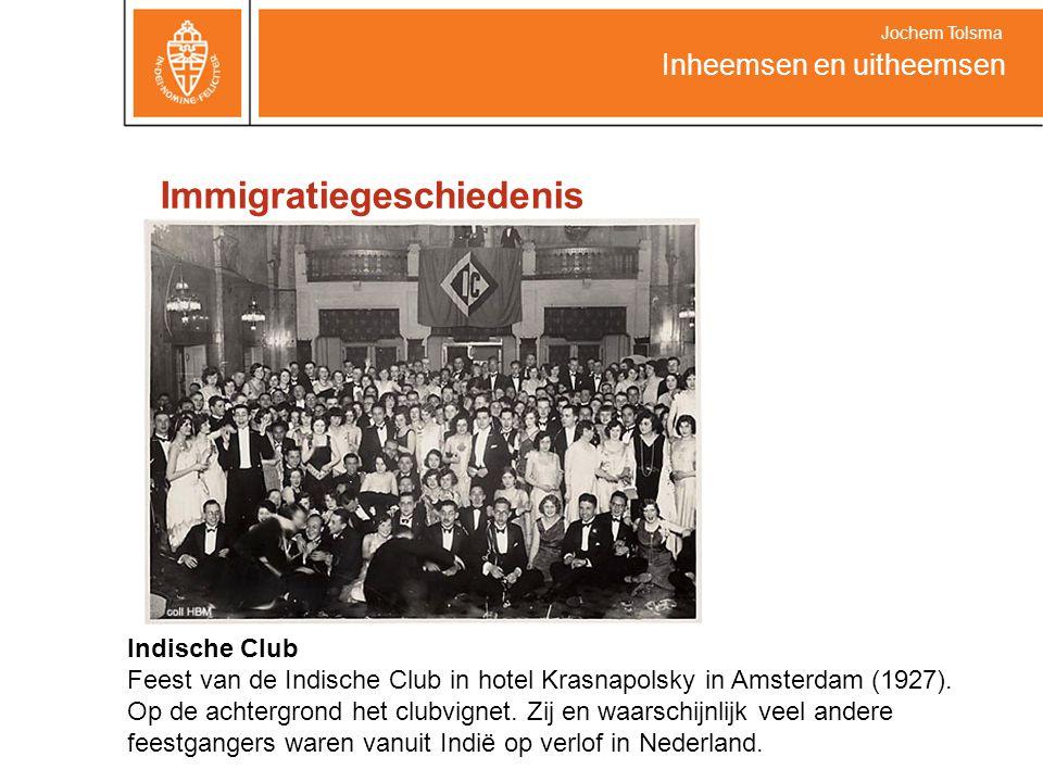 Immigratiegeschiedenis Inheemsen en uitheemsen Jochem Tolsma Indische Club Feest van de Indische Club in hotel Krasnapolsky in Amsterdam (1927). Op de