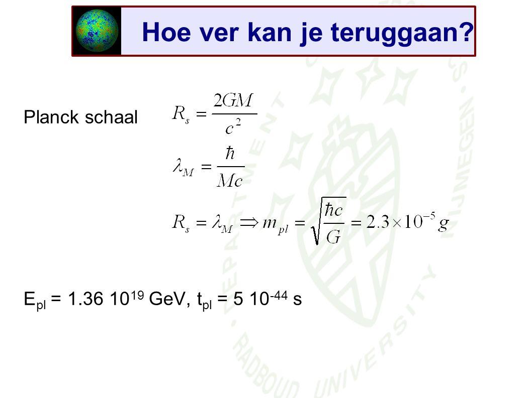 Planck schaal E pl = 1.36 10 19 GeV, t pl = 5 10 -44 s Hoe ver kan je teruggaan?