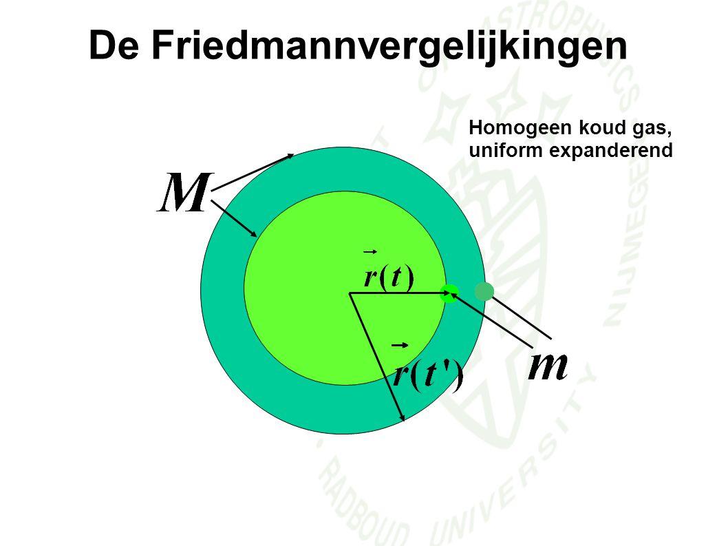Homogeen koud gas, uniform expanderend De Friedmannvergelijkingen