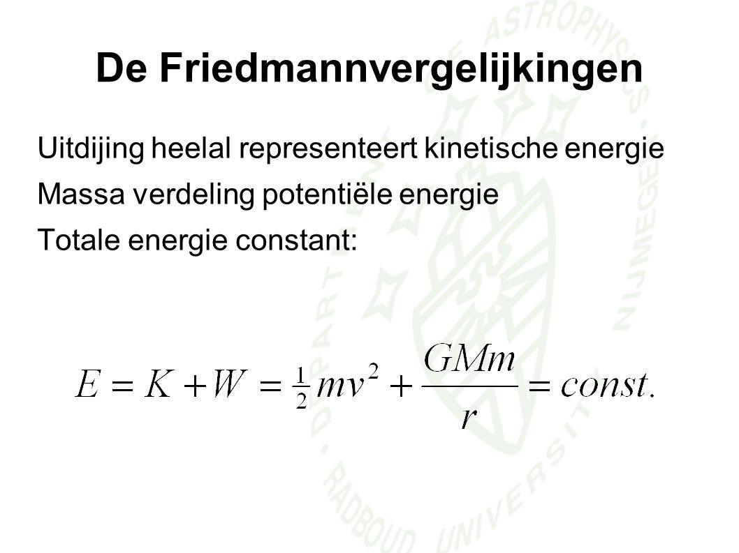 Uitdijing heelal representeert kinetische energie Massa verdeling potentiële energie Totale energie constant: