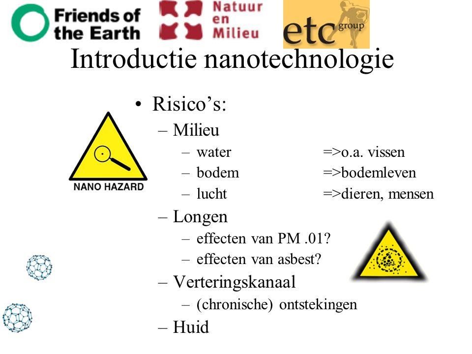 Introductie nanotechnologie Risico's: –Milieu –water =>o.a. vissen –bodem=>bodemleven –lucht=>dieren, mensen –Longen –effecten van PM.01? –effecten va