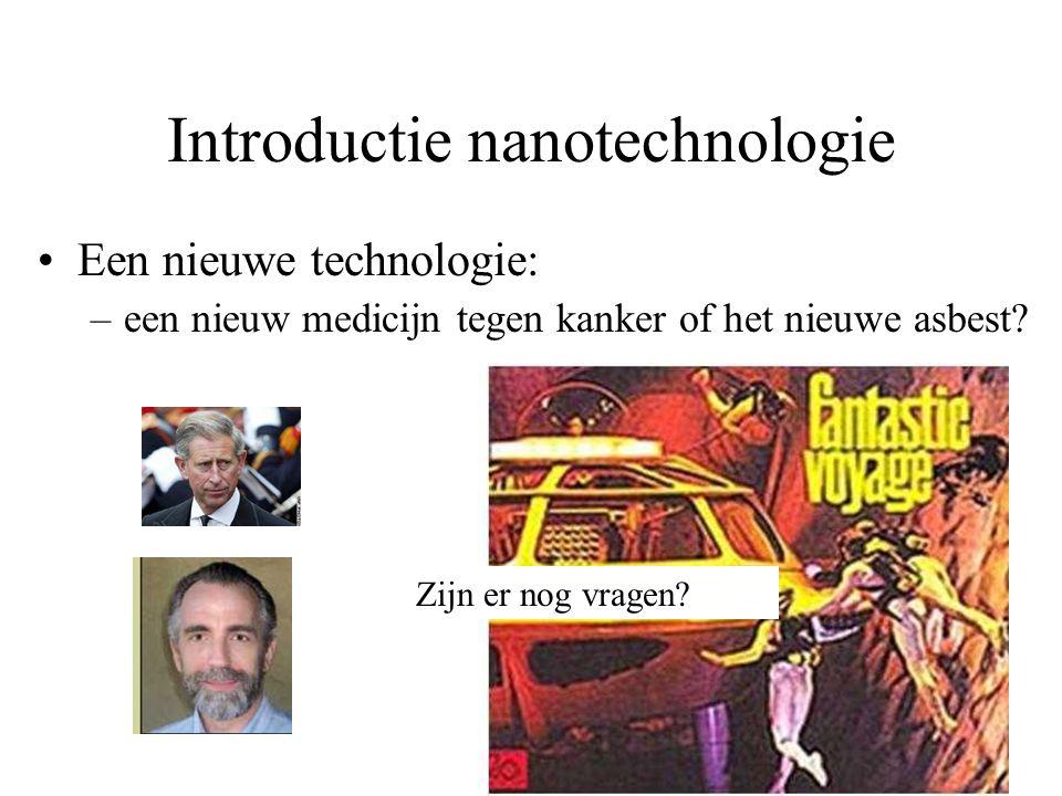 Introductie nanotechnologie Een nieuwe technologie: –een nieuw medicijn tegen kanker of het nieuwe asbest? Zijn er nog vragen?