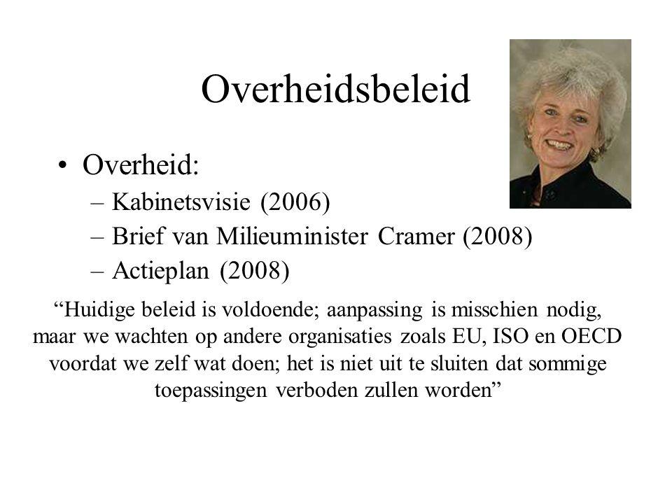 """Overheidsbeleid Overheid: –Kabinetsvisie (2006) –Brief van Milieuminister Cramer (2008) –Actieplan (2008) """"Huidige beleid is voldoende; aanpassing is"""