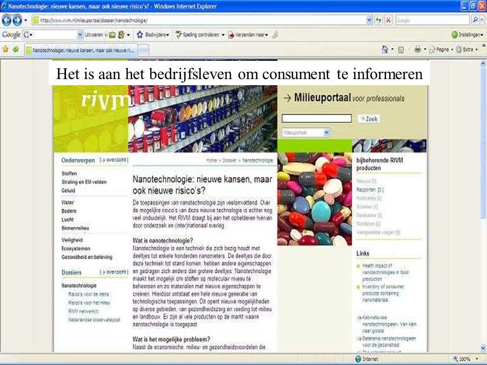 Het is aan het bedrijfsleven om consument te informeren