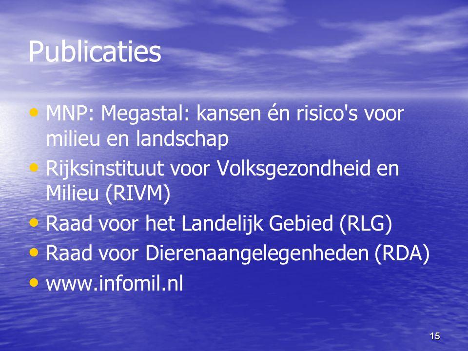 15 Publicaties MNP: Megastal: kansen én risico's voor milieu en landschap Rijksinstituut voor Volksgezondheid en Milieu (RIVM) Raad voor het Landelijk