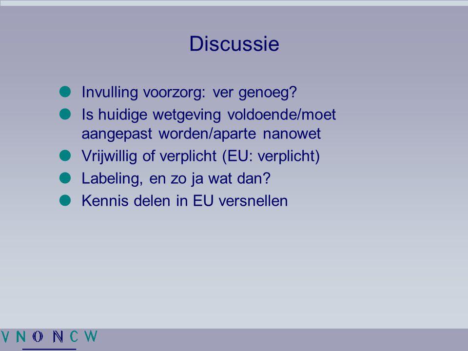 Discussie  Invulling voorzorg: ver genoeg?  Is huidige wetgeving voldoende/moet aangepast worden/aparte nanowet  Vrijwillig of verplicht (EU: verpl