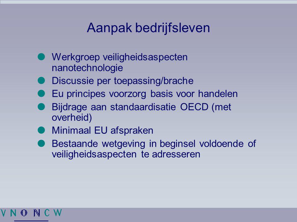 Aanpak bedrijfsleven  Werkgroep veiligheidsaspecten nanotechnologie  Discussie per toepassing/brache  Eu principes voorzorg basis voor handelen  B